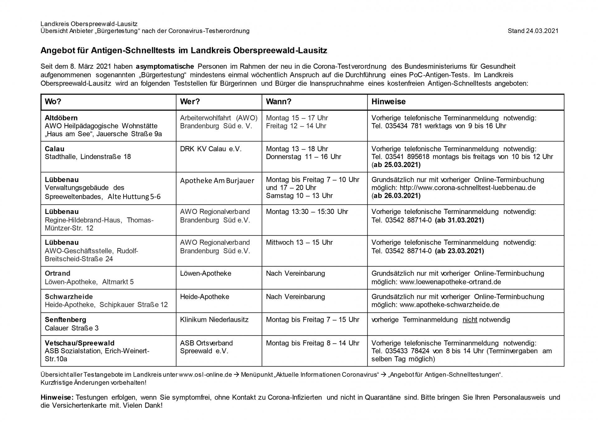 """Übersicht aller Anbieter """"Bürgertestungen"""" nach der Corona-Testverordnung des Landkreises Oberspreewald-Lausitz, Quelle: Landkreis OSL, 24.03.2021"""