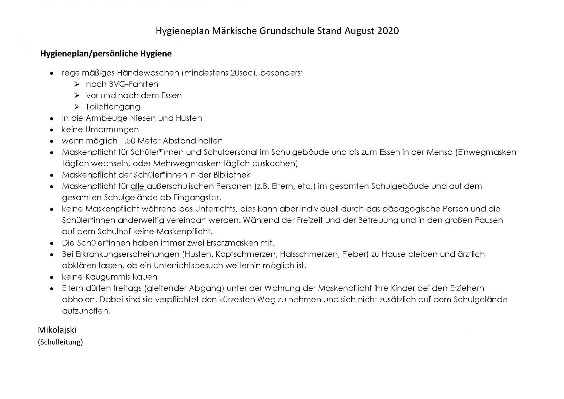 Hygieneplan - Stand September 2020 - Seite 2