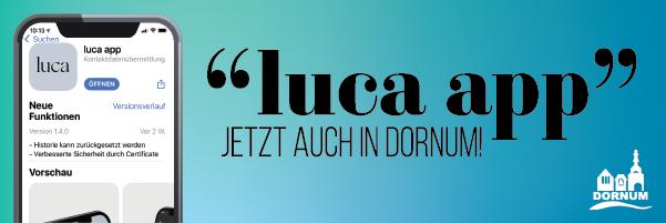 Luca-App jetzt in Dornum einsatzbereit, Bild zeigt ein Smartphone mit der App-Vorschau und den Text luca-app jetzt auch in Dornum