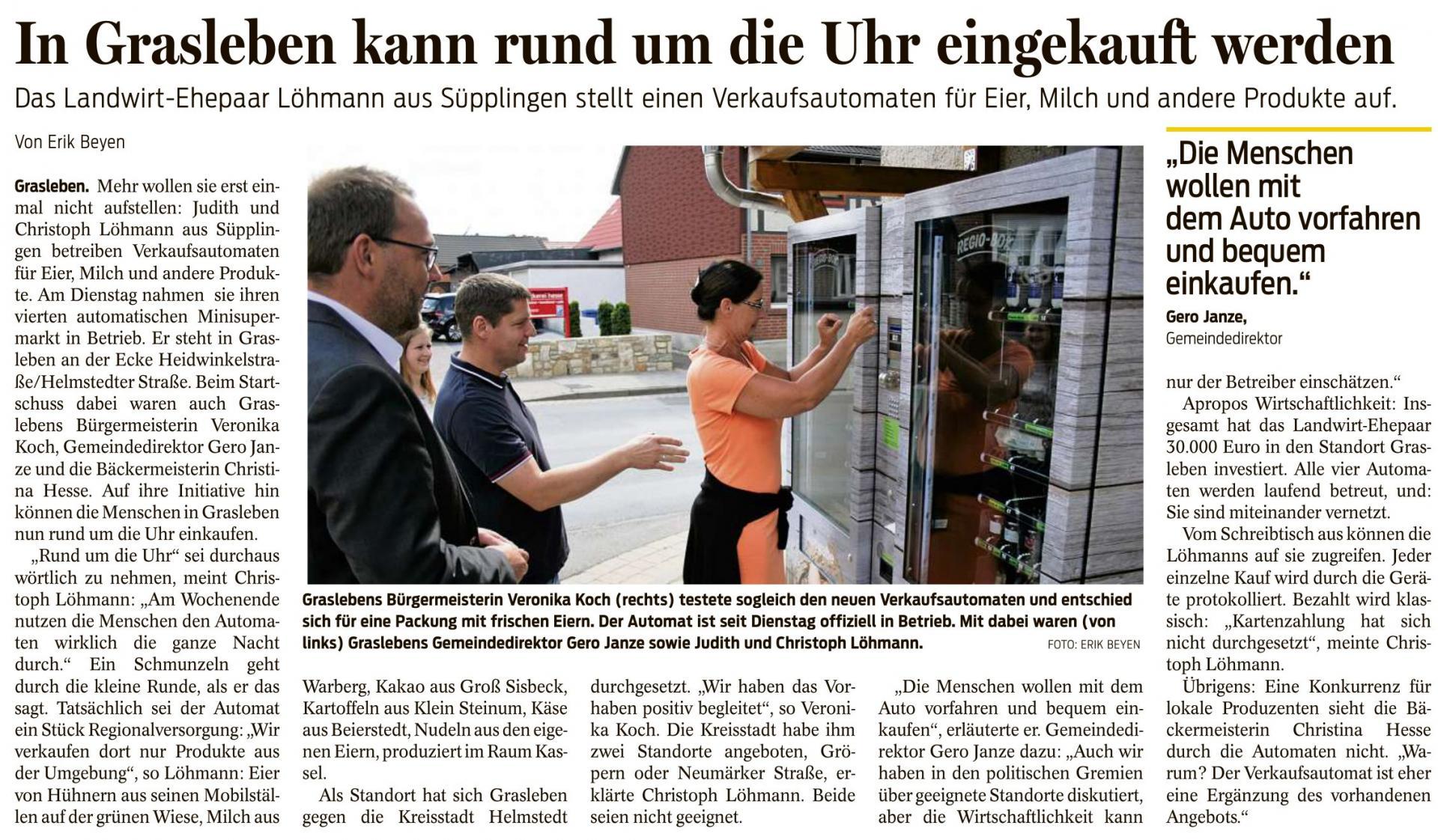 Artikel aus den Helmstedter Nachrichten vom 06.08.2020 (Autor: Erik Beyen)