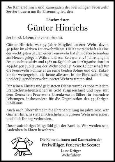 Nachruf LM Günter Hinrichs