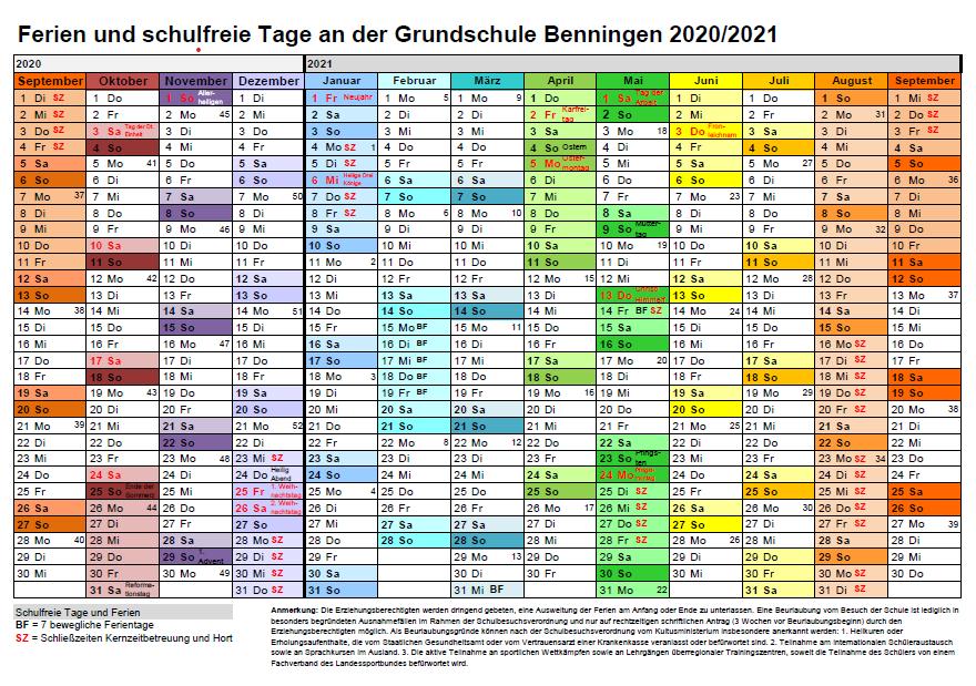 Ferienplan Schuljahr 2020/2021