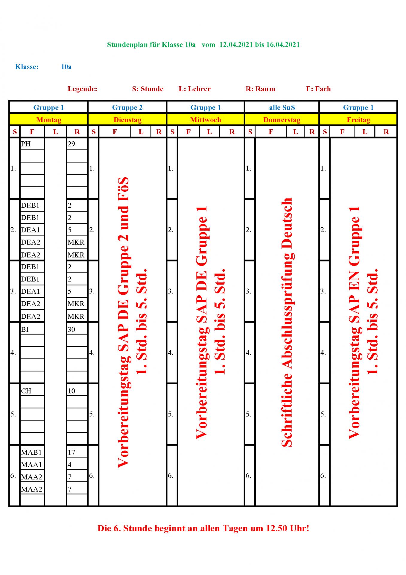 Sonderplan 10a vom 12.04.2021 bis 16.04.2021