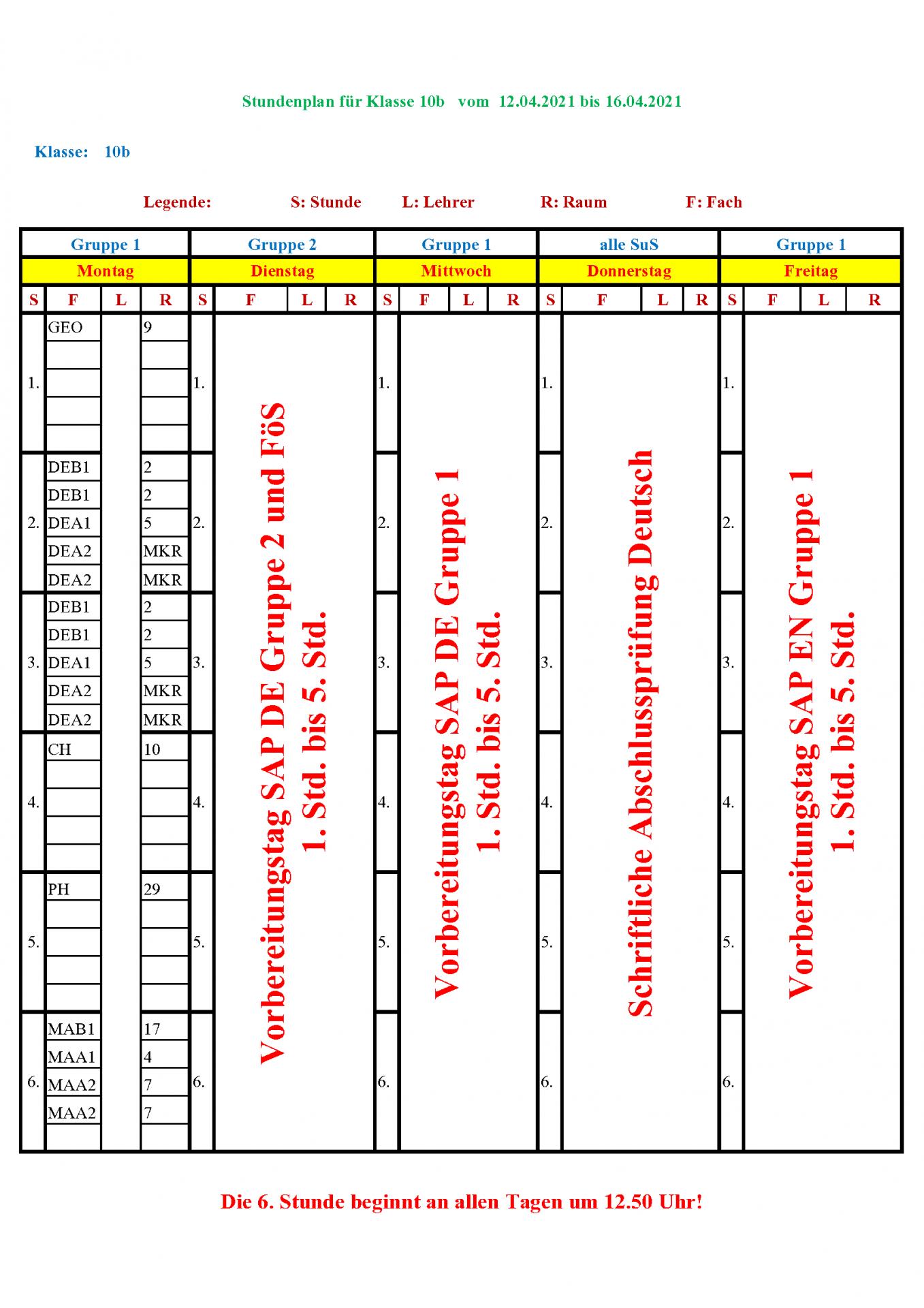 Sonderplan 10b vom 12.04.2021 bis 16.04.2021