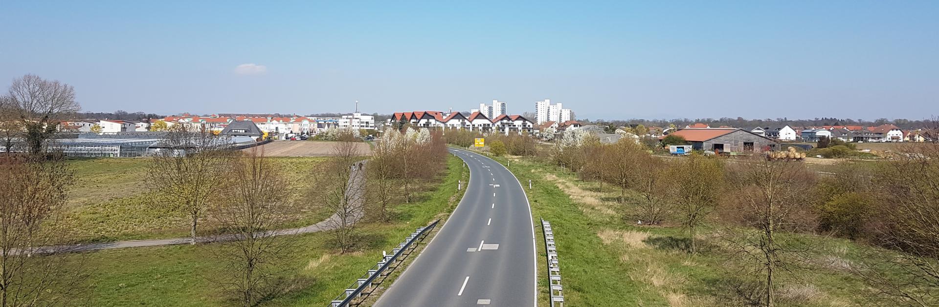 Header-Bild: Panorama-Ansicht Nauheim aus Sicher der Ostumgehungsstraße