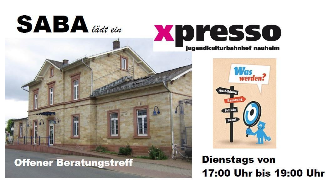 """Vorschaubild: Expresso am Bahnhof von außen, Logo X-Pressp, Logo """"Was werden?"""""""