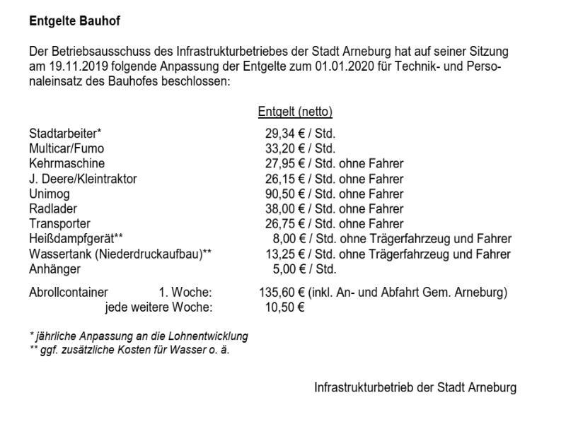 Entgelte Bauhof
