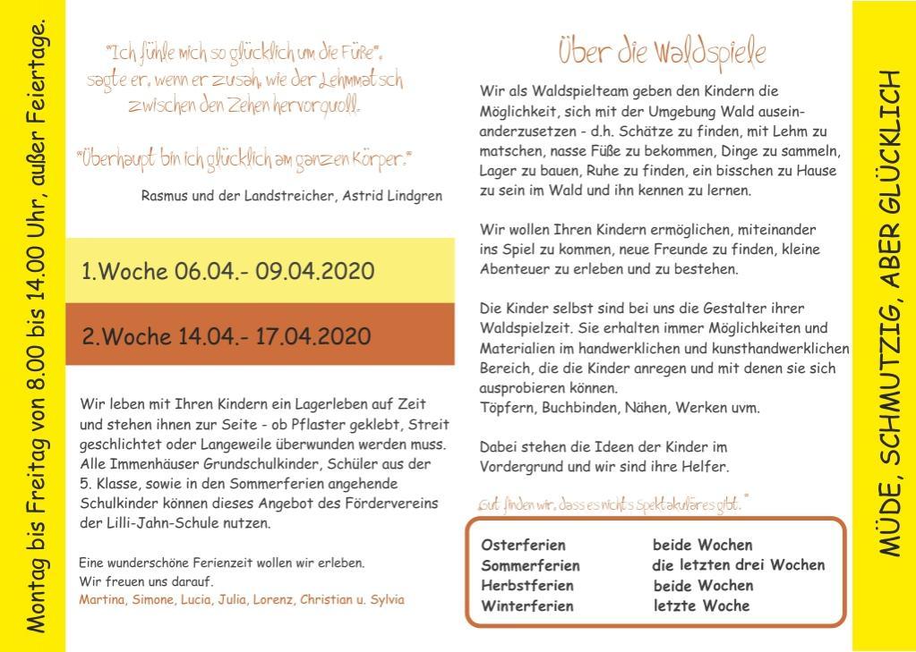 Programm Osterwaldspiele 2020