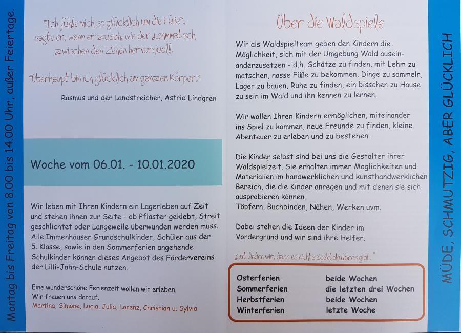 Programm Winterwaldspiele 2020