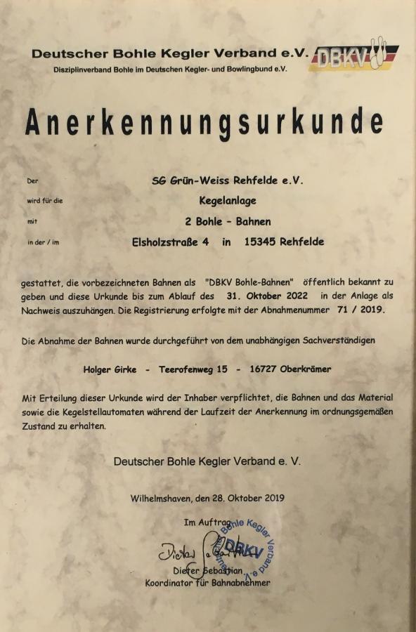 Urkunde zur Abnahme der neuen Kegelbahn 2019