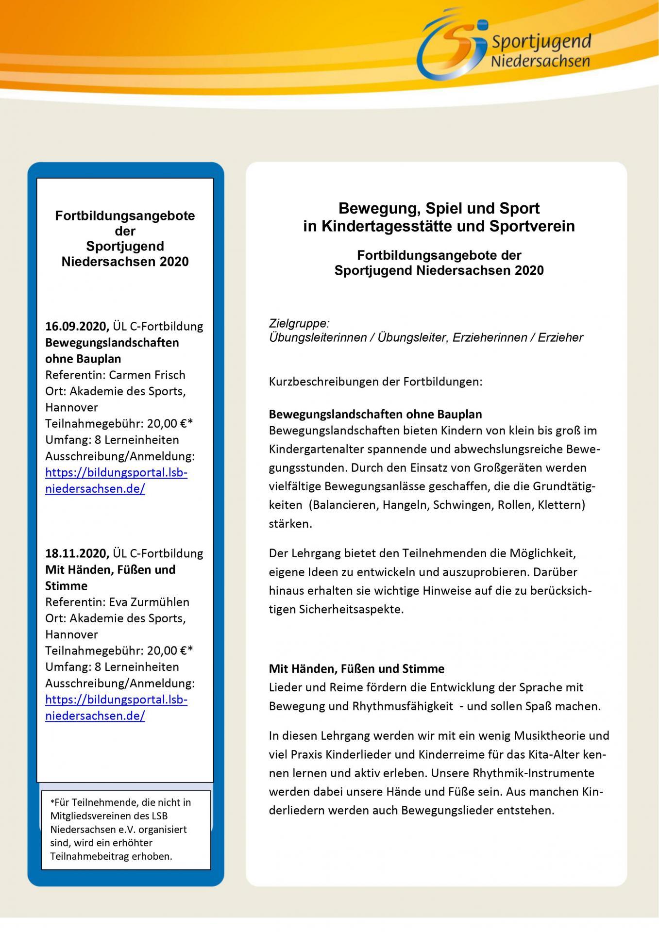 Fortbildungsangebote der Sportjugend Niedersachsen 2020