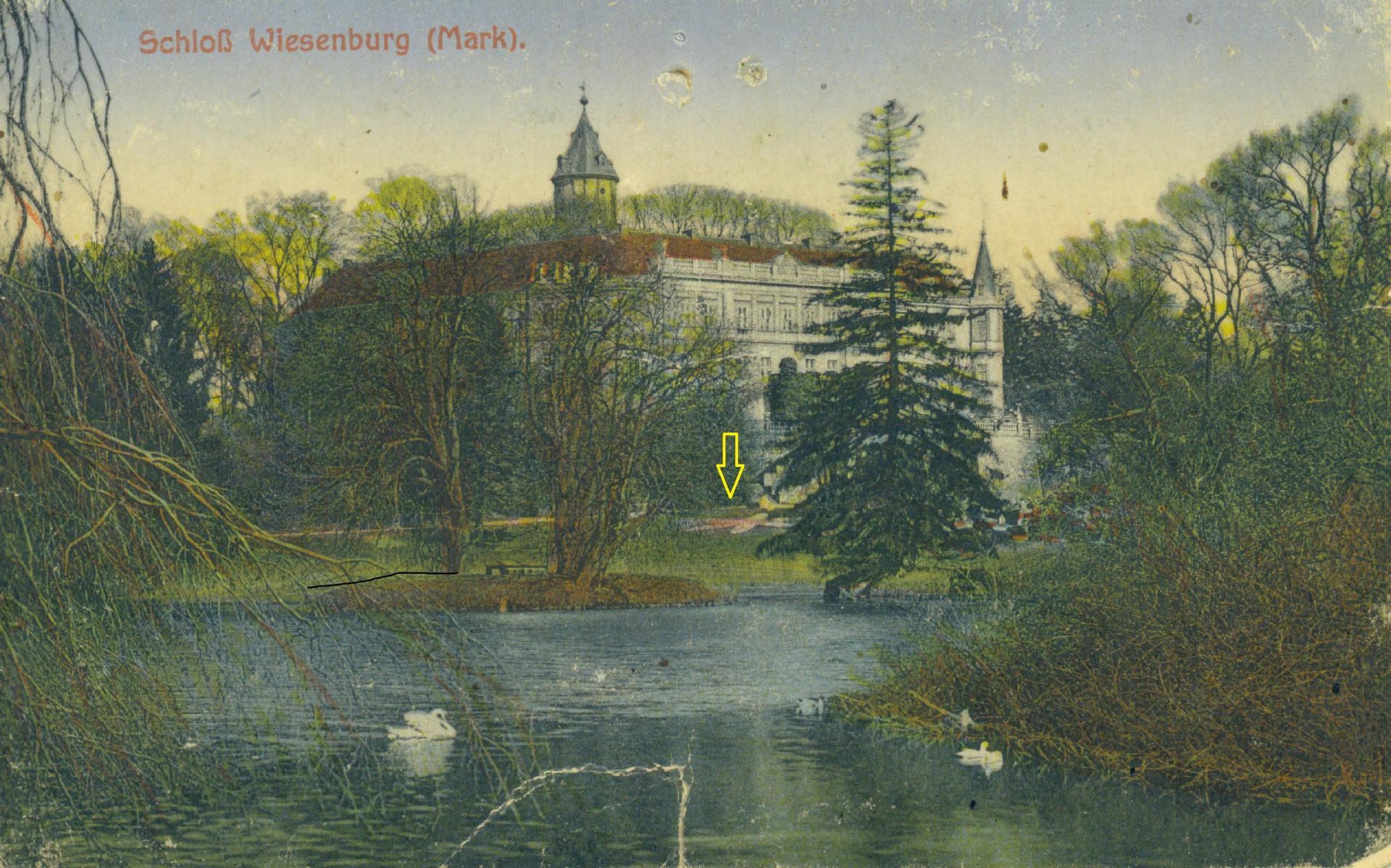 Unweit des Parterres hat sich Anfang des 20. Jahrhunderts ein sternförmiges Beet befunden. Die colorierte Ansichtskarte zeigt dieses überraschende Detail.
