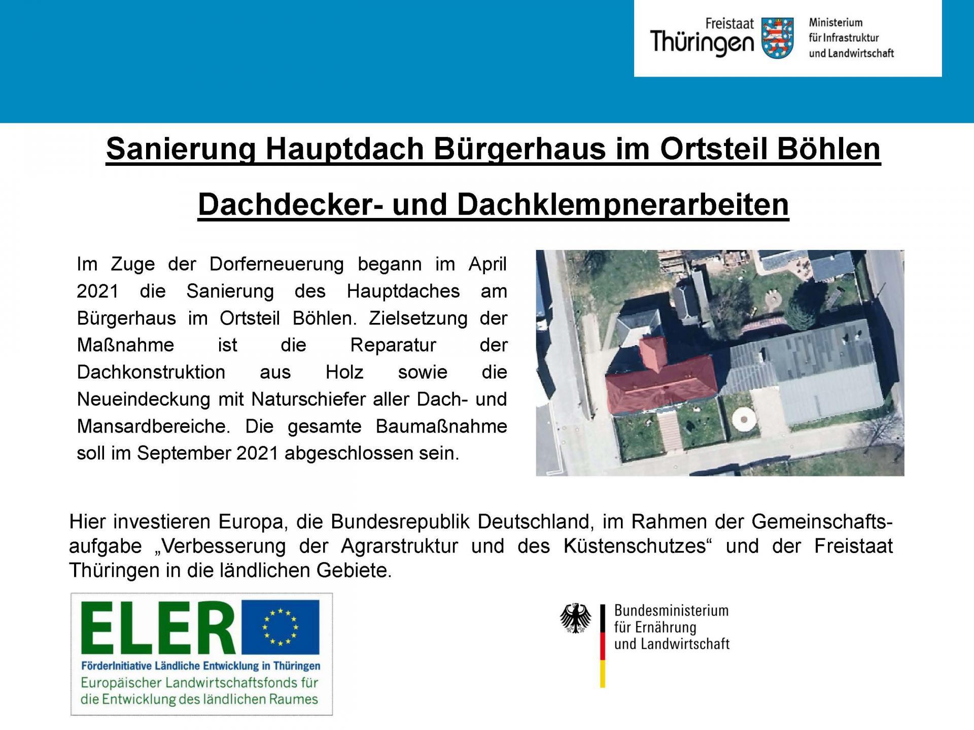 Förderprogramm Dachsanierung Bürgerhaus Böhlen
