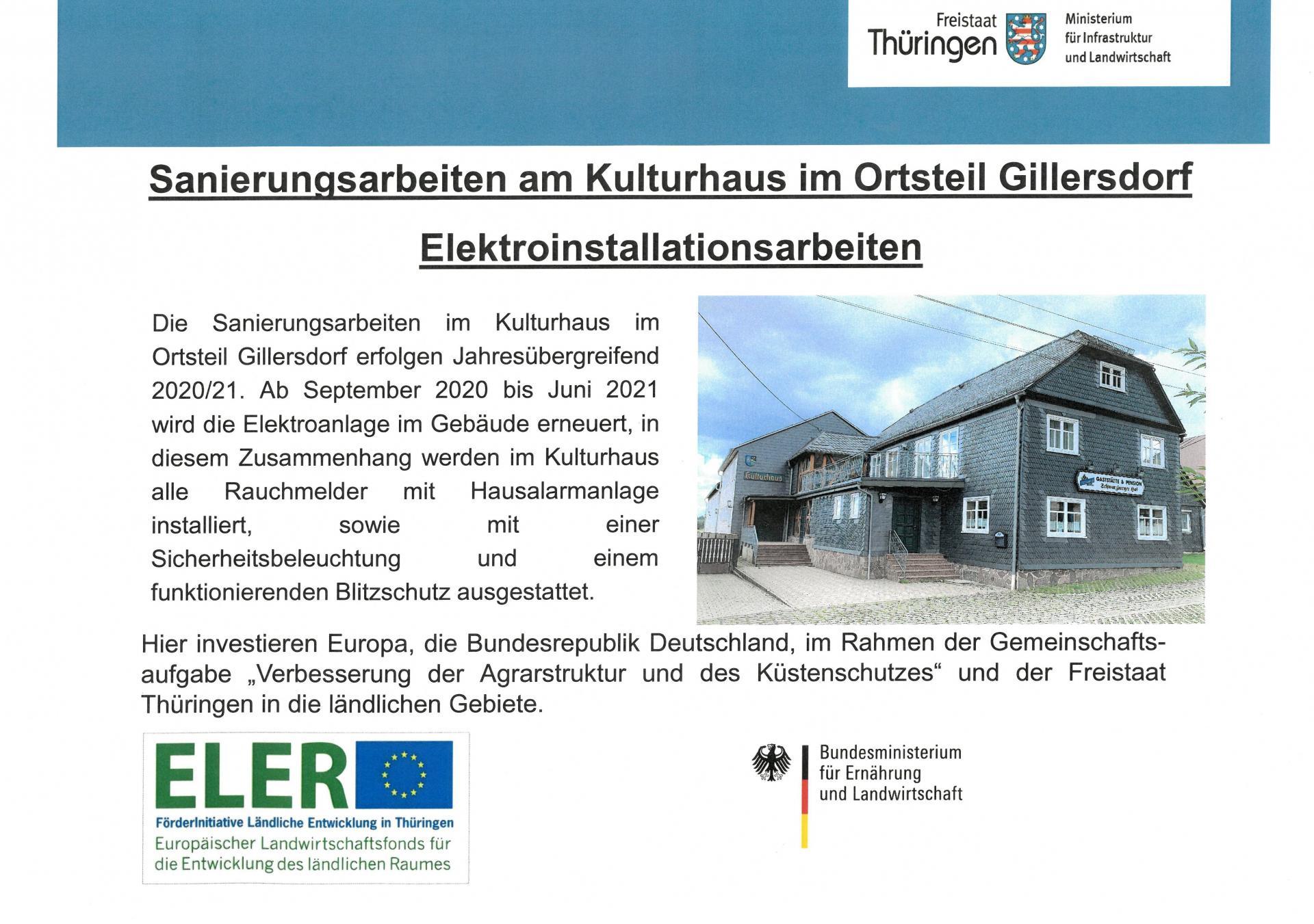 Die Umbaumaßnahmen im Kulturhaus Gillersdorf werden gefördert.