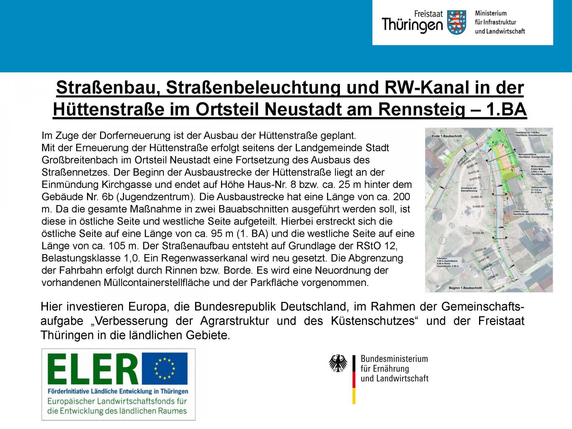 Straßenbau Hüttenstraße Neustadt a. Rstg.