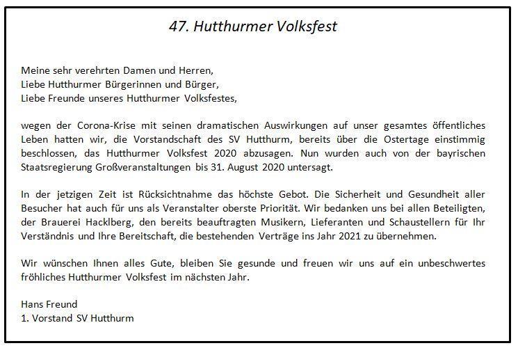 Absage Hutthurmer Volksfest 2020