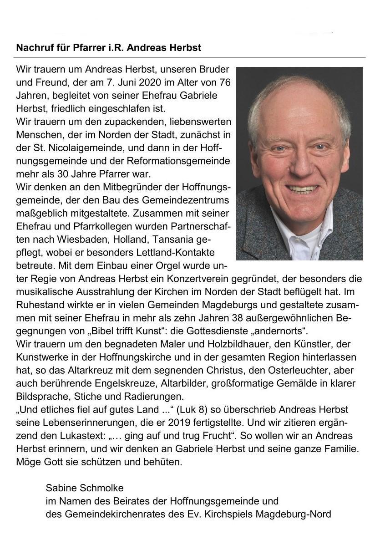 Nachruf Pfarrer i.R. Andreas Herbst