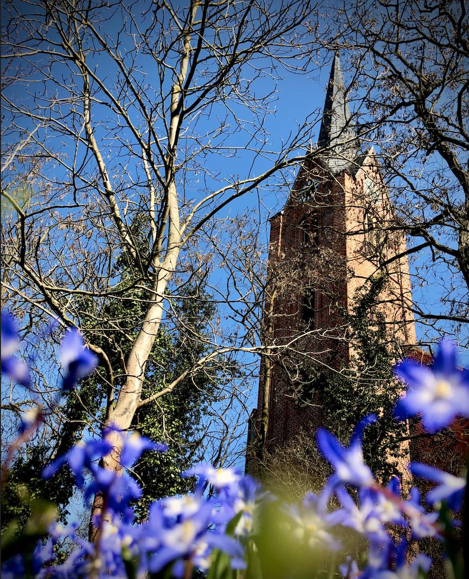 Kirche Elster im Frühling