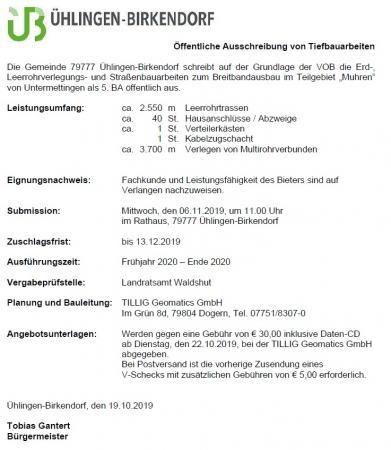 Öffentliche Ausschreibung - Breitband 5. BA