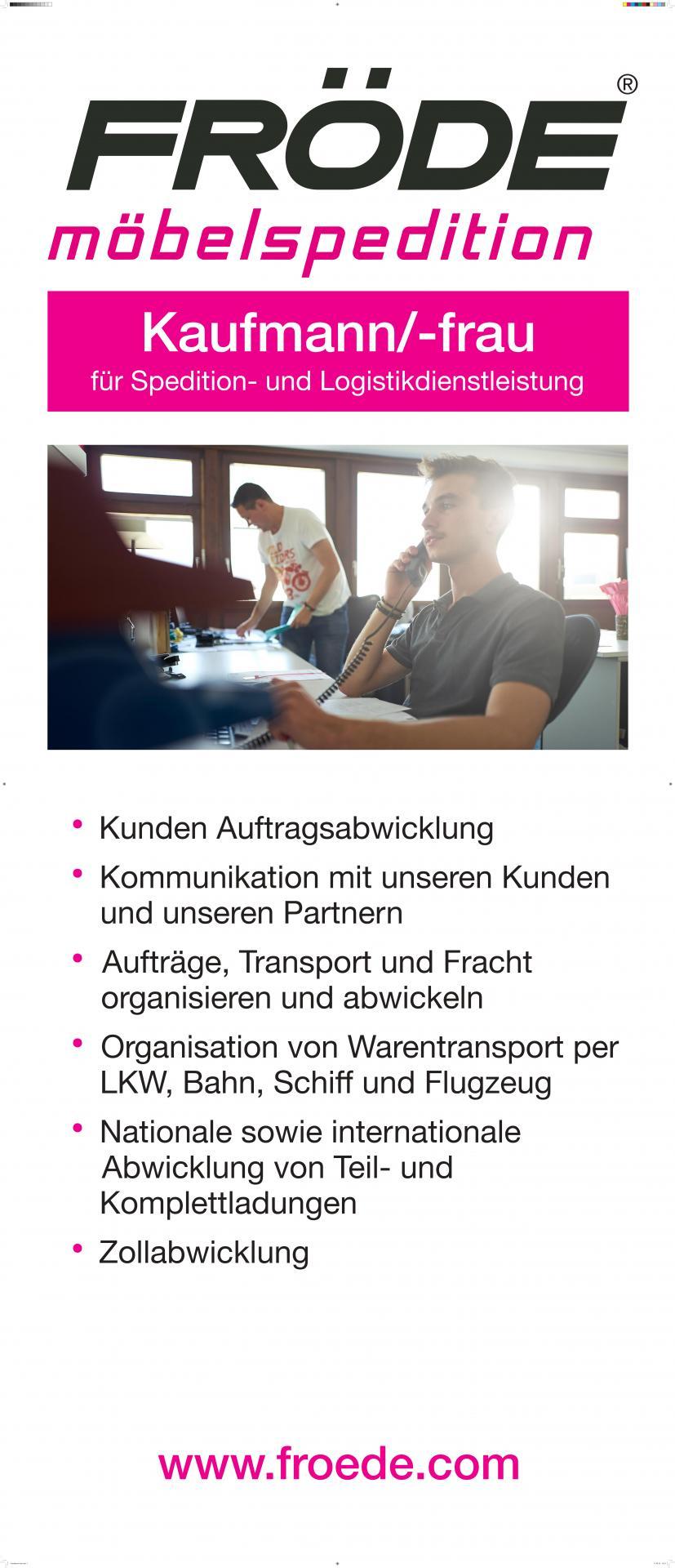 Fröde Banner Kaufmann-frau Spedition und Logistikdienstleistungen