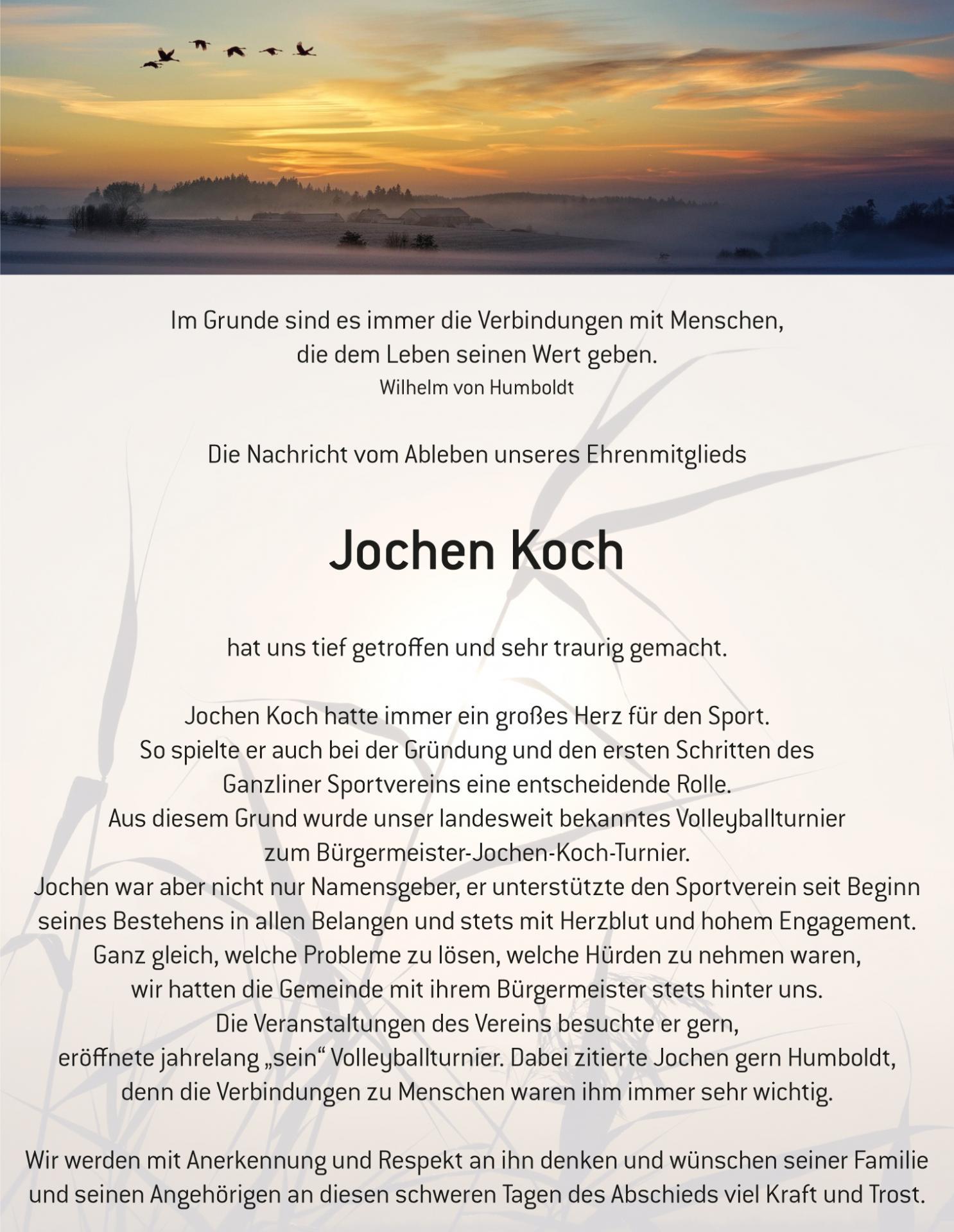 Traueranzeige Jochen Koch