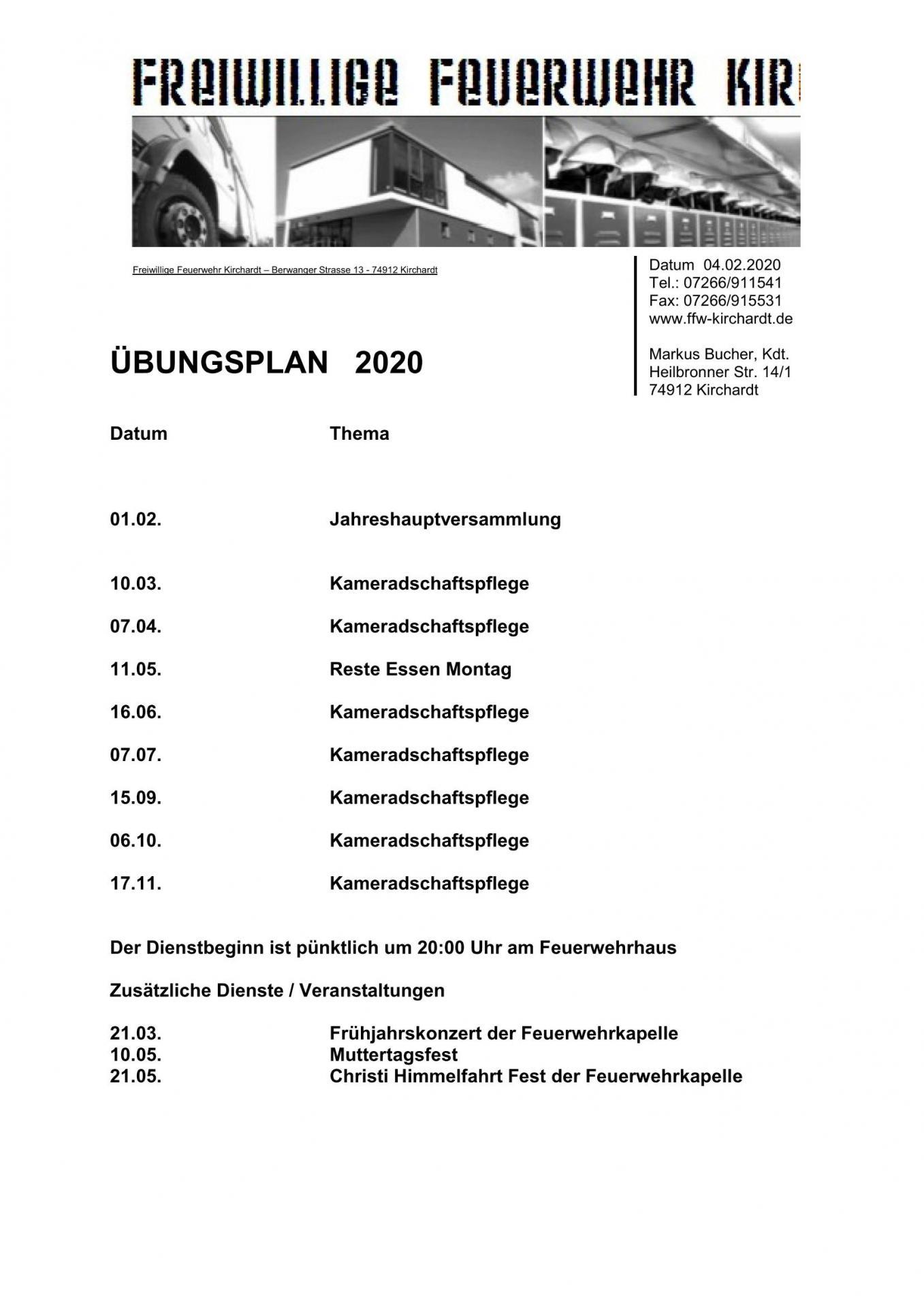 Dienstplan Alterswehr 2020