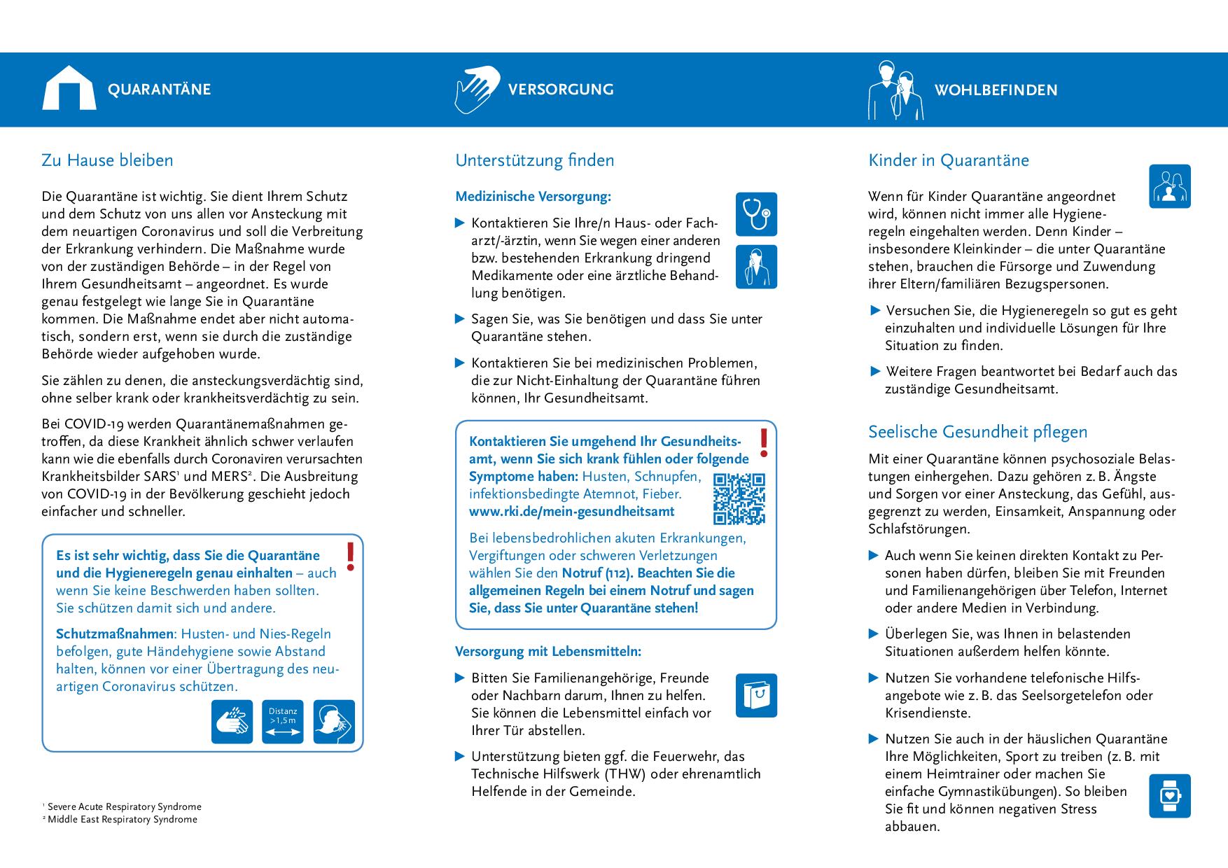 Quarantäne - Flyer für Kontaktpersonen