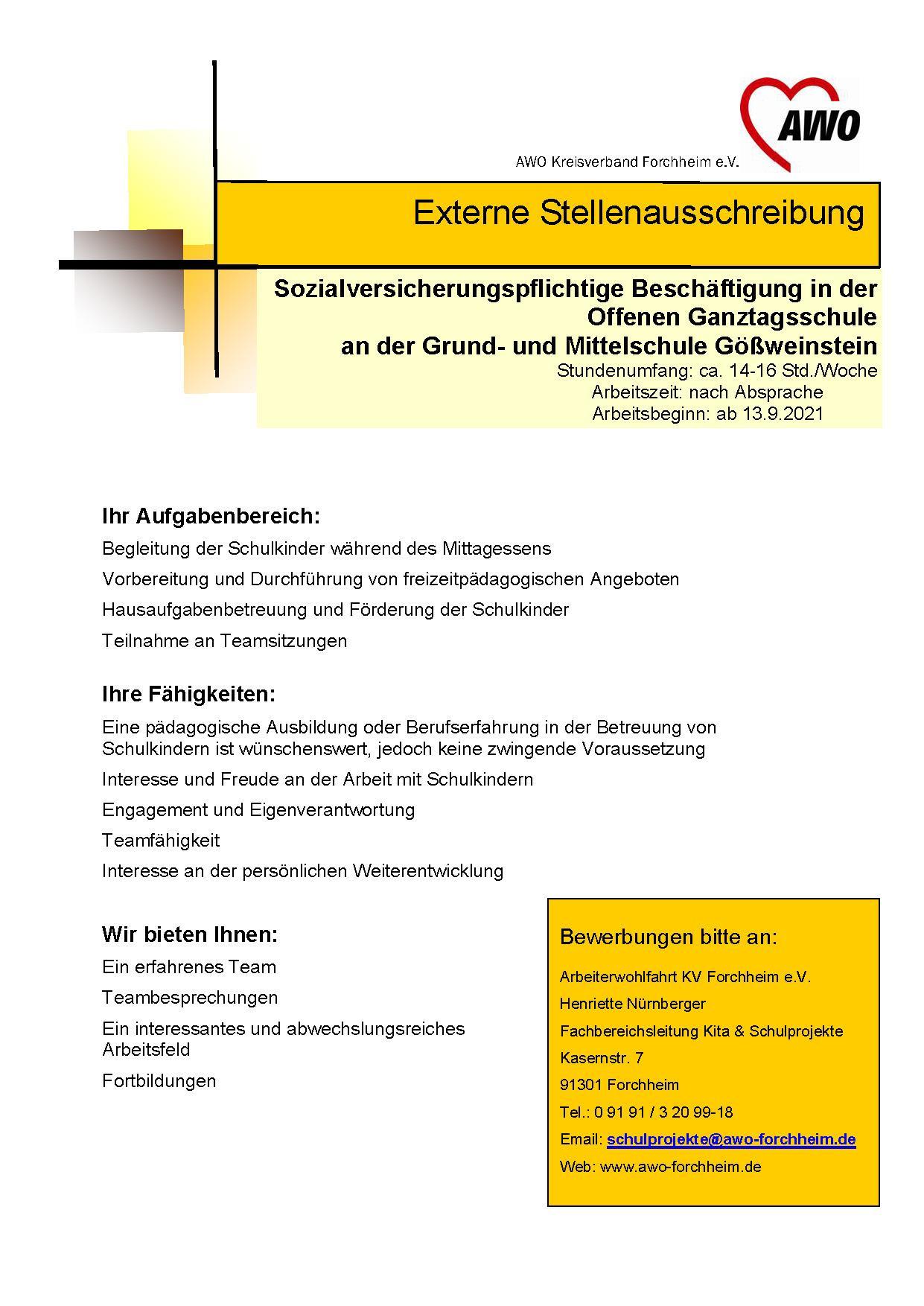 Ausschreibung Gößweinstein sozialvers. ab 9.21