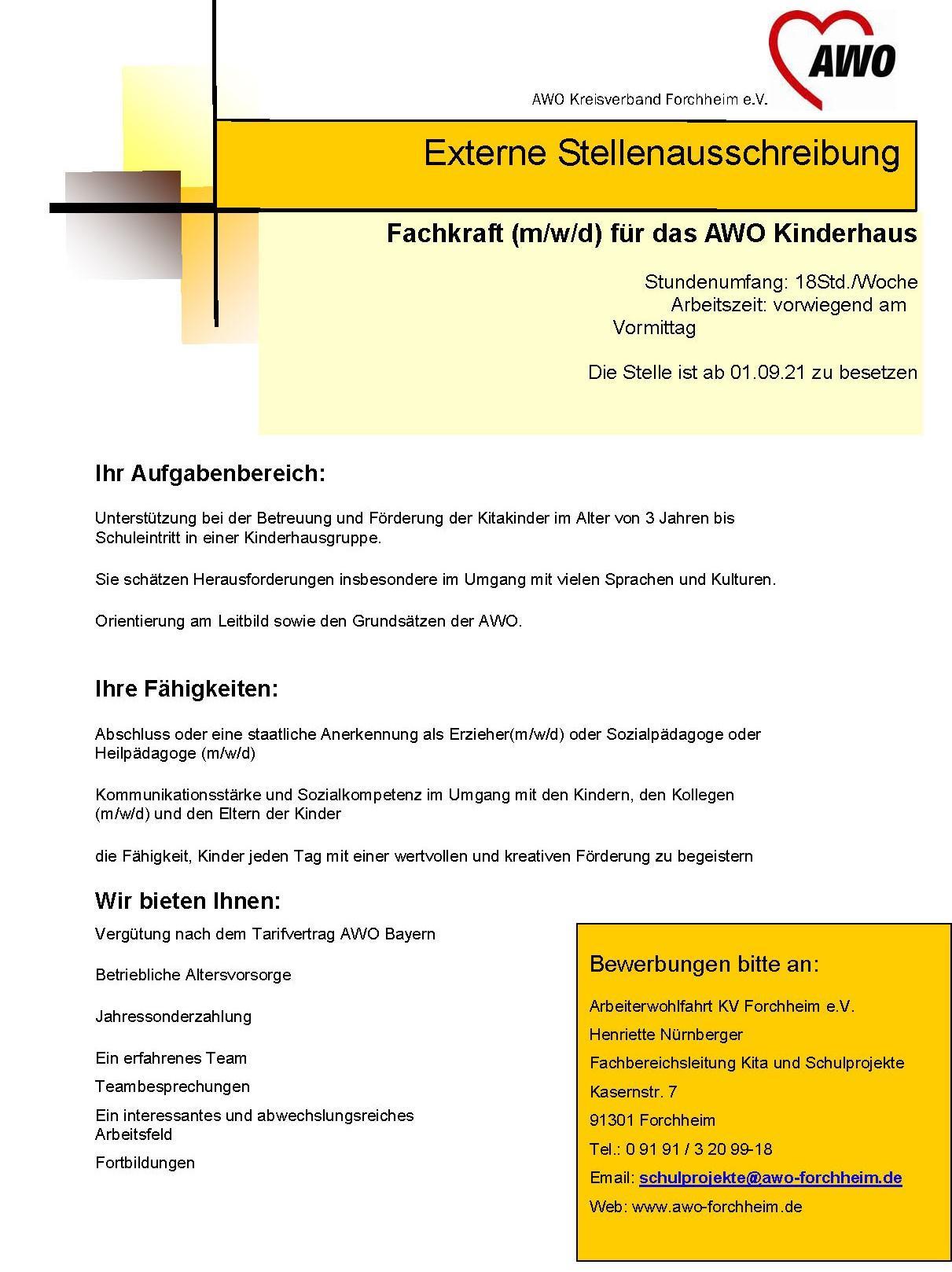 Fachkraft Hort AWO Forchheim