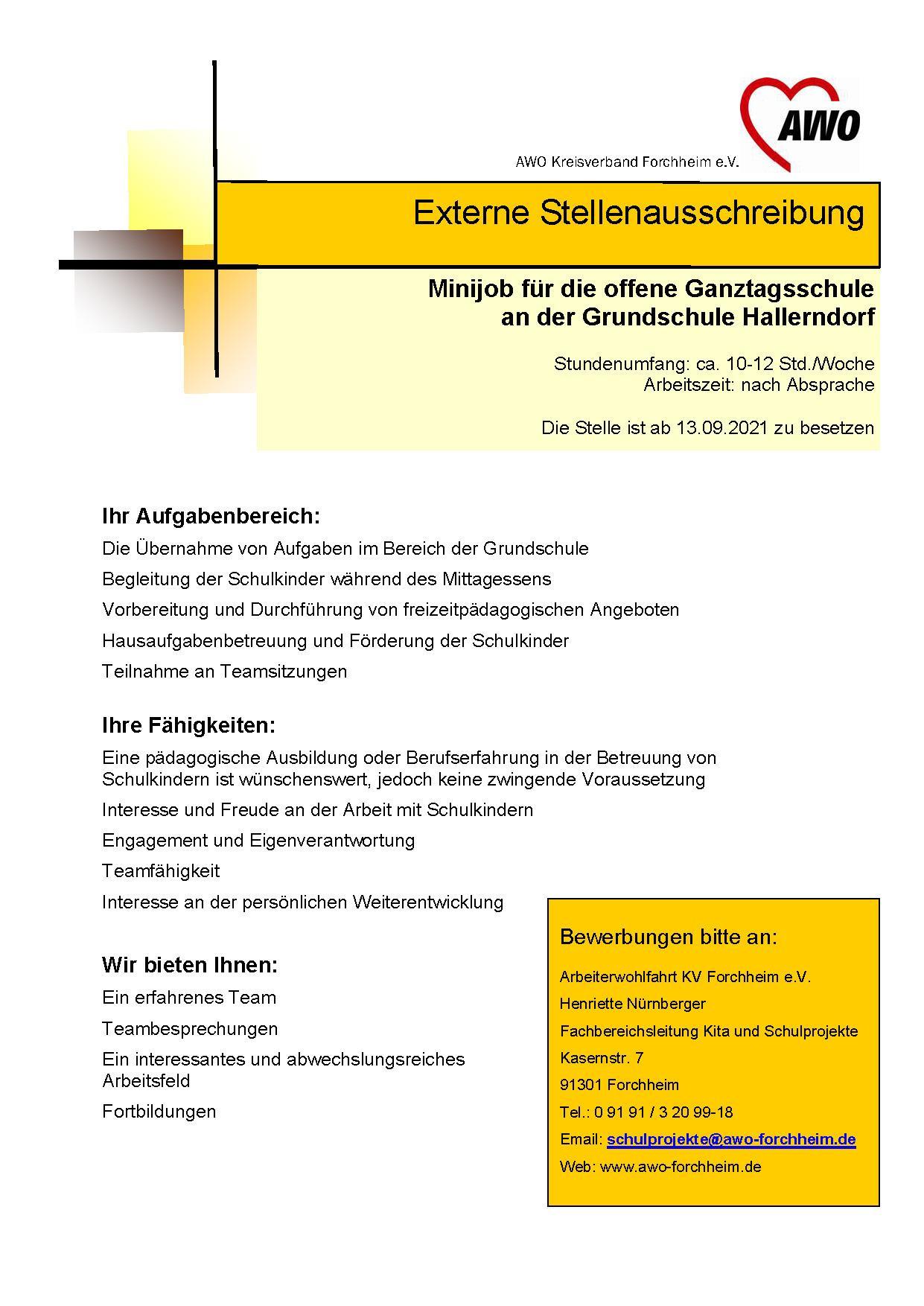 Hallerndorf Minijob ab 9.21