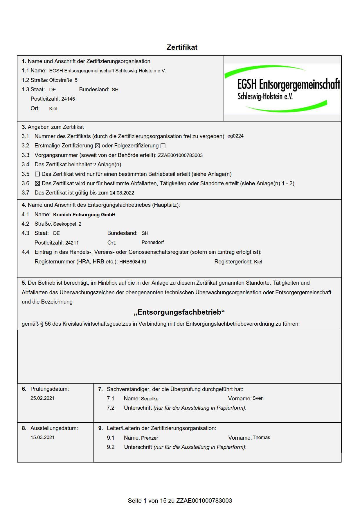 EfB-Zertifikat mit Anhang
