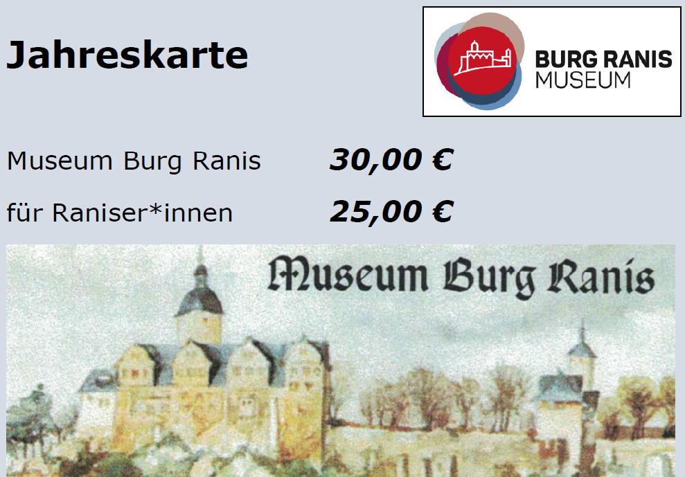 Jahreskarte - Museum Burg Ranis