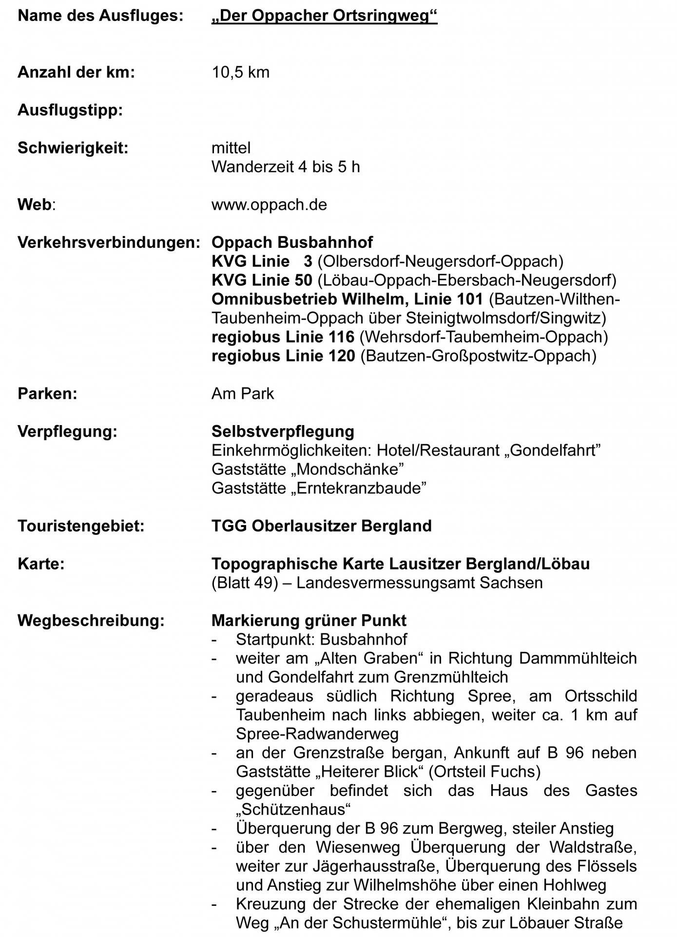 Oppacher Ortsringweg- Kurzbeschreibung 1