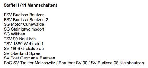 F-Junioren, Kreisliga 2021/2022, Staffel 1