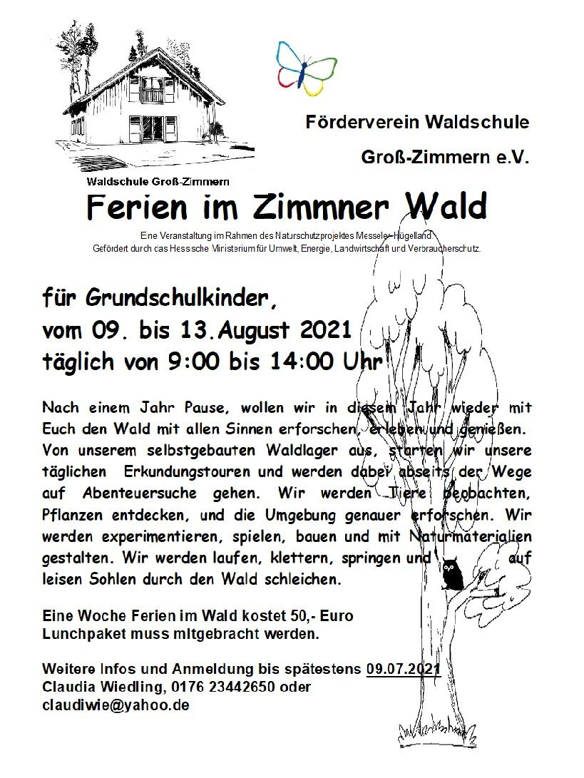 Plakat Ferien im Wald 2021