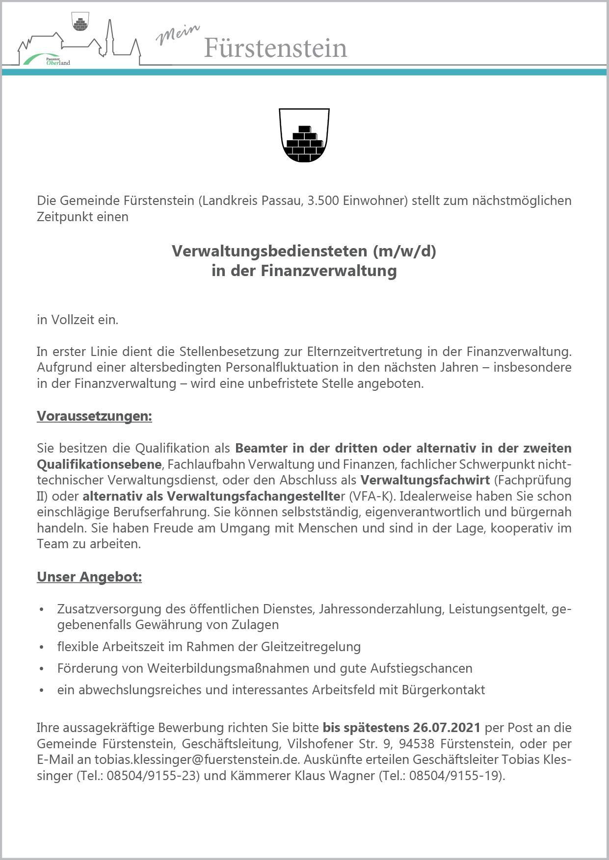 Stellenausschreibung Finanzverwaltung 2021
