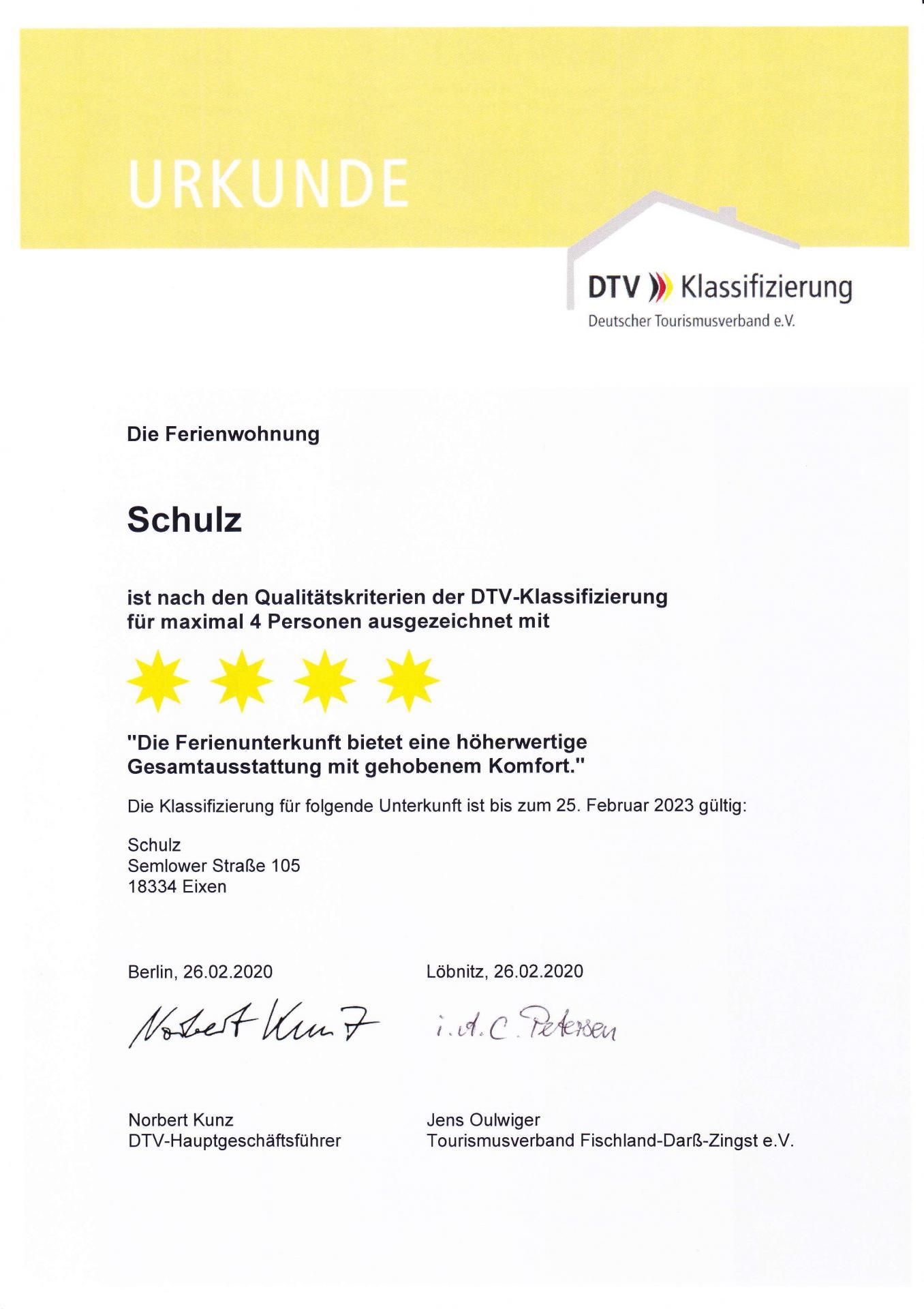 Feriewohnung Schulz Eixen - Klassifizierung