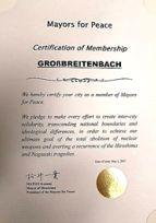Mitgliedsurkunde Großbreitenbachs in der internationalen Organisation von Städten Mayors for Peace