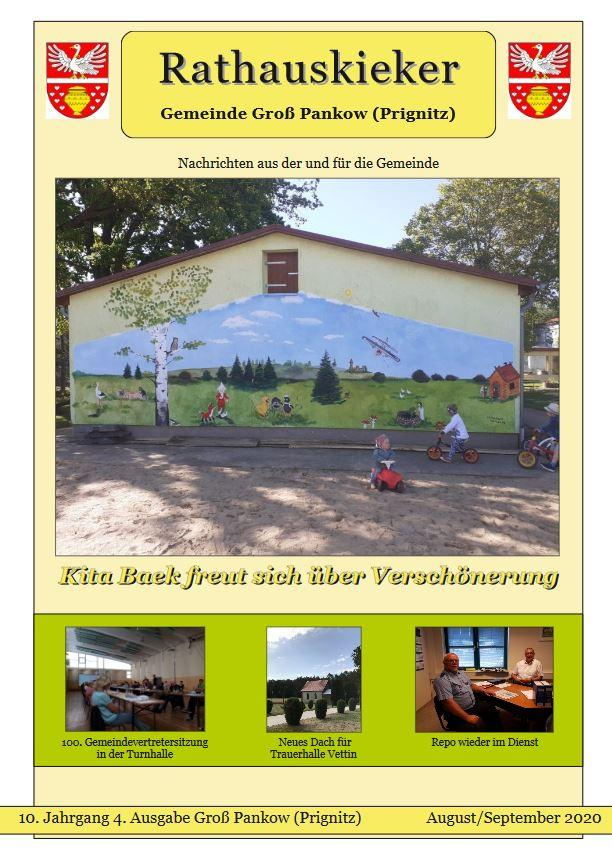 10. Jahrgang 4. Ausgabe Groß Pankow (Prignitz) Augusti/Septemberi 2020