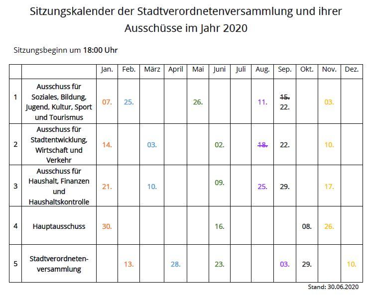 Sitzungskalender der Stadtverordnetenversammlung und ihrer Ausschüsse im Jahr 2020