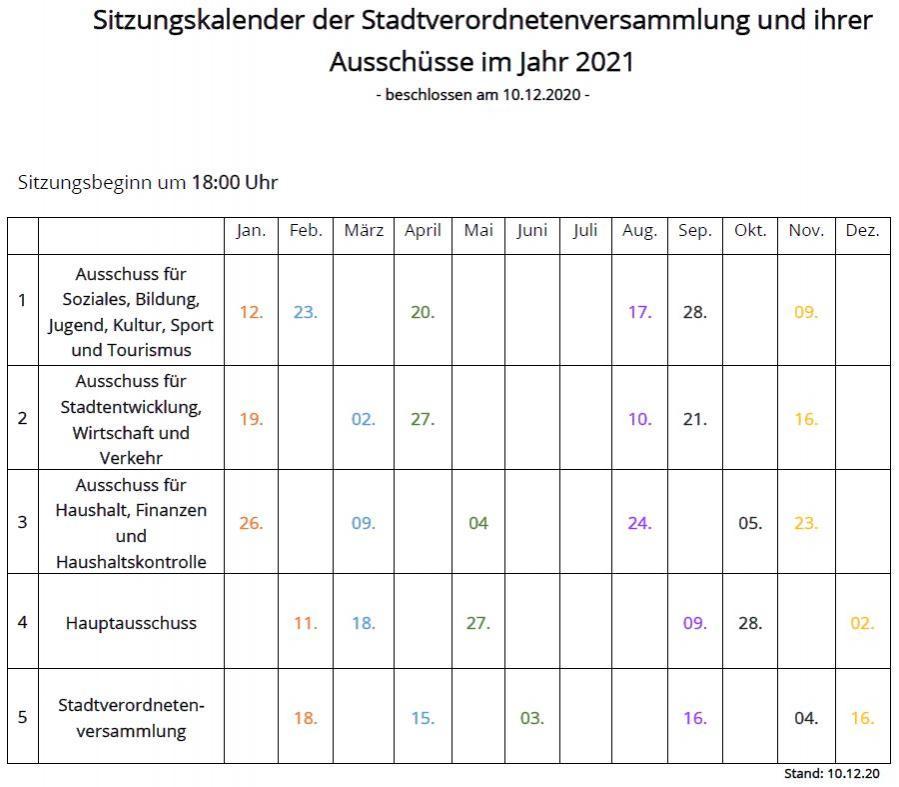 Sitzungskalender Rolandstadt Perleberg 2021 (Stand: 11.12.2020)