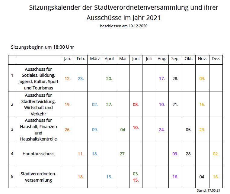 Sitzuungskalender der Stadt Perleberg