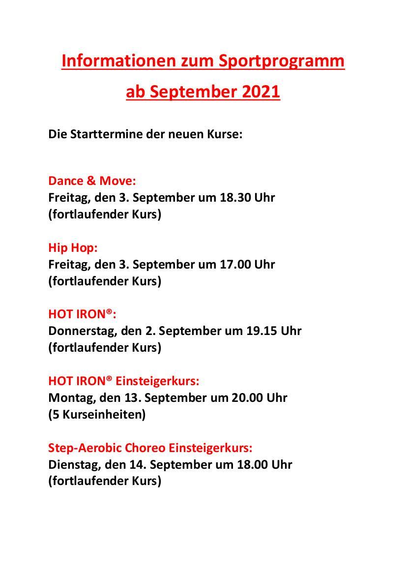 Informationen zu den neuen Kursen