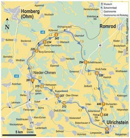 Übersichtskarte zur Felda- und Ohmtal-Rundtour