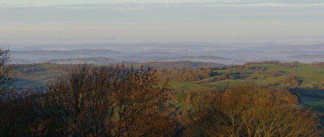 Blick vom Ulrichsteiner Schloßberg an einem Herbstmorgen
