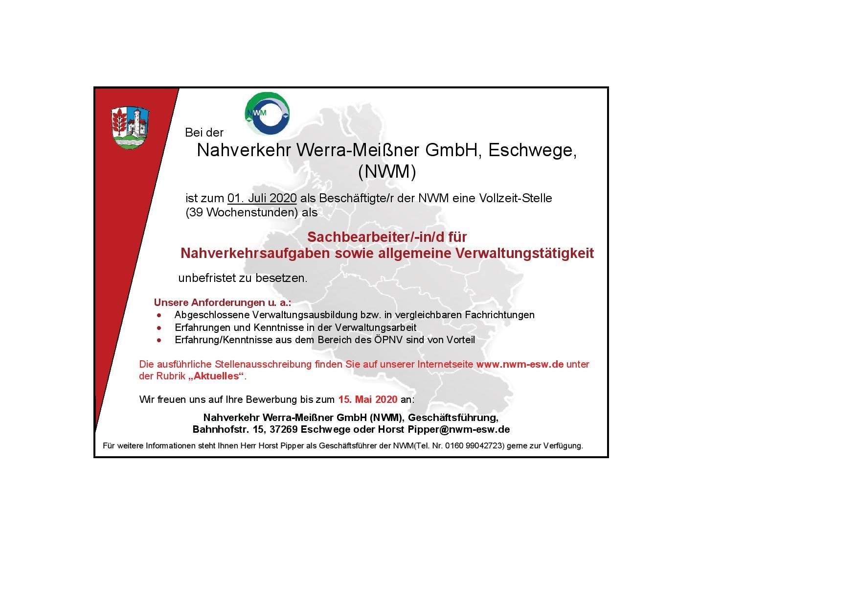 Stellenausschreibung NWM zum 01.07.2020