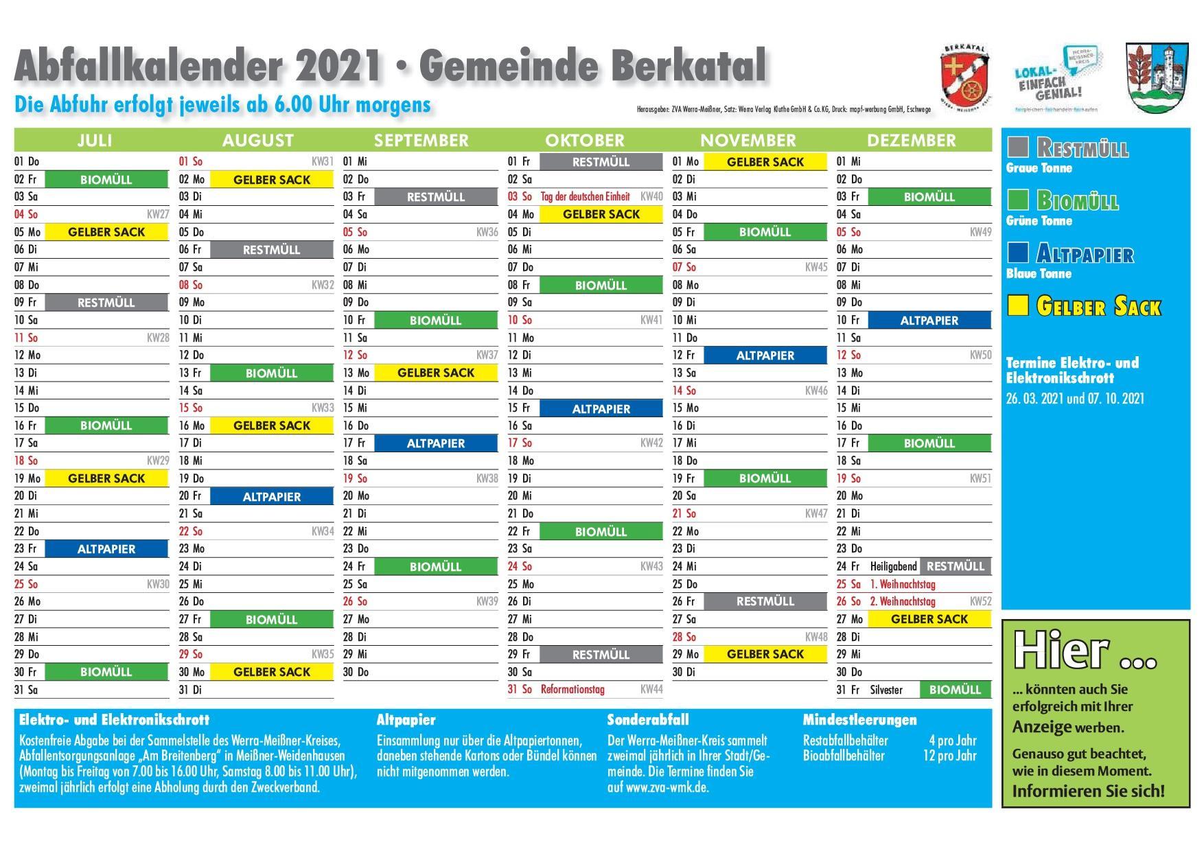 Abfallkalender 2021 2. HJ