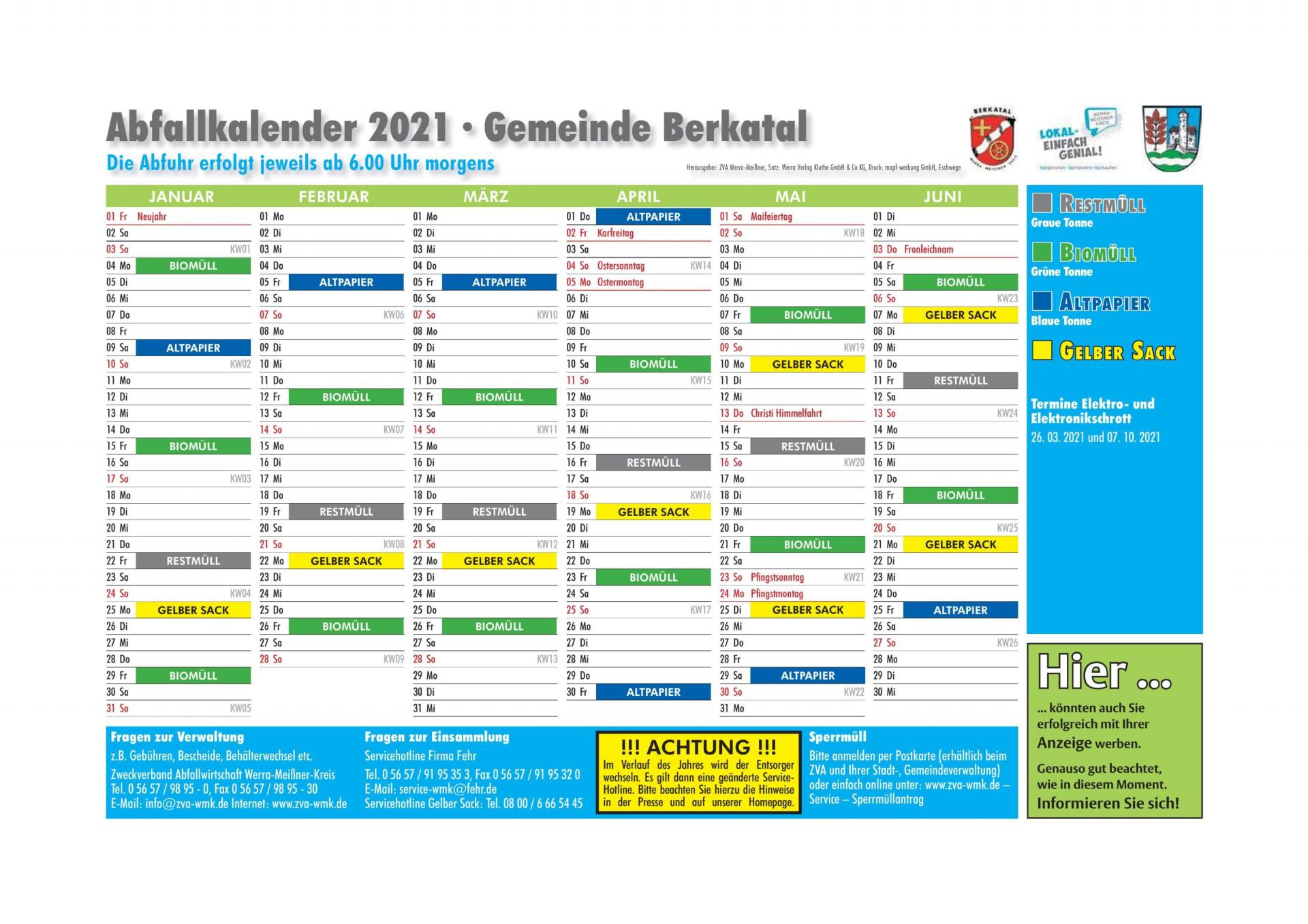 Abfallkalender 2021 1. HJ
