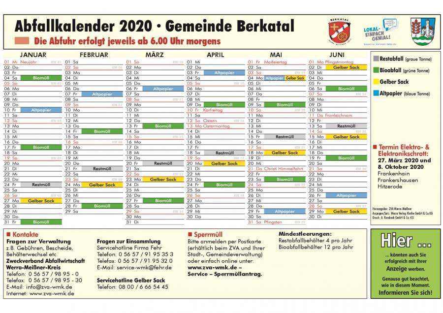 Abfallkalender Berkatal_2020 1. Halbjahr