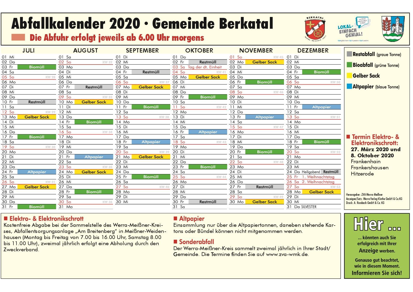 Abfallkalender 2. HJ 2020